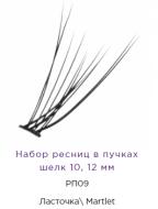 Набор ресниц в пучках Manly Pro шелк 10, 12 мм РП09