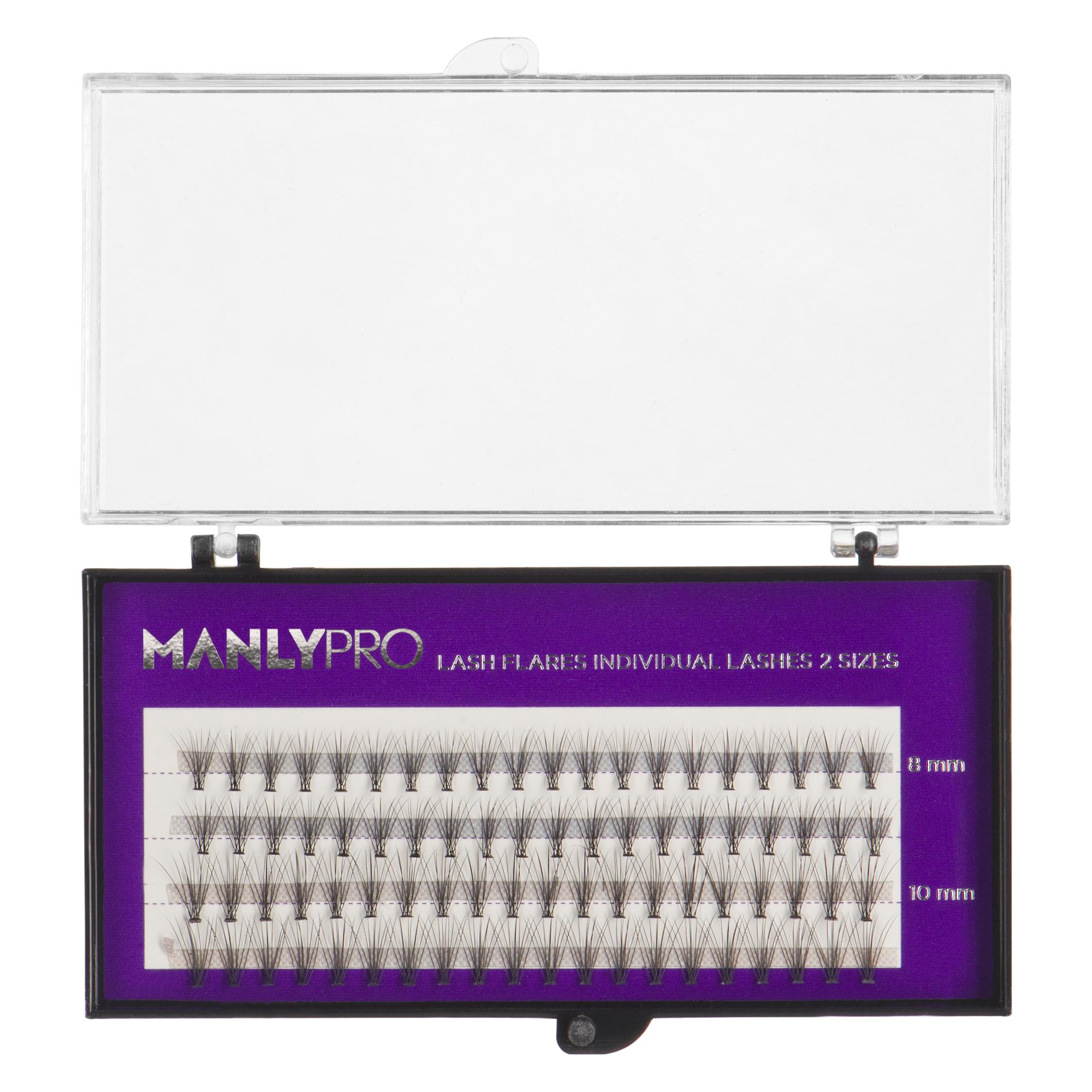 Набор ресниц в пучках Manly Pro шелк 8, 10 мм РП08: фото